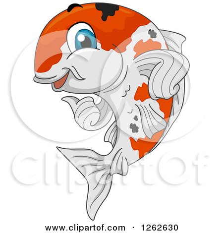 Clipart of a Happy Calico Koi Fish Giving a Thumb up - Royalty Free Vector Illustration by BNP Design Studio