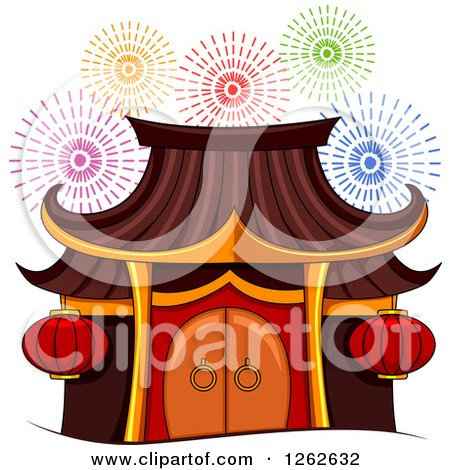 Clipart of a Pagoda and Fireworks - Royalty Free Vector Illustration by BNP Design Studio