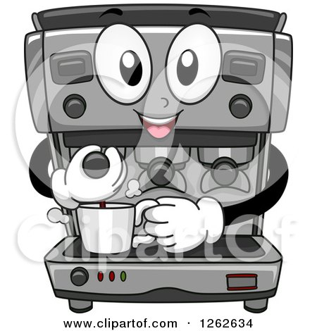 Clipart of a Happy Espresso Maker Machine Making Coffee - Royalty Free Vector Illustration by BNP Design Studio