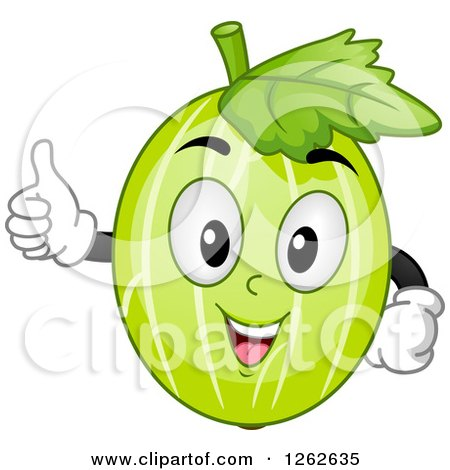 Clipart of a Happy Gooseberry Character Holding a Thumb up - Royalty Free Vector Illustration by BNP Design Studio