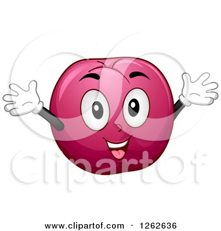 Clipart of a Happy Plum Holding Its Arms up - Royalty Free Vector Illustration by BNP Design Studio