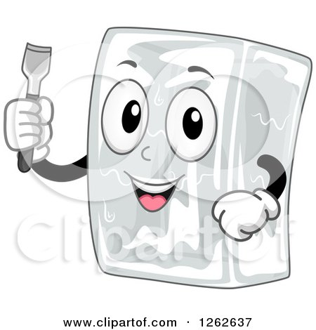 Clipart of a Happy Block of Ice Character Holding a Chisel - Royalty Free Vector Illustration by BNP Design Studio
