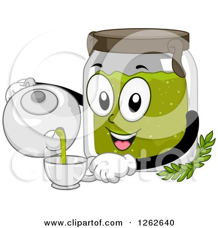 Clipart of a Canister Pouring Organic Tea into a Cup - Royalty Free Vector Illustration by BNP Design Studio