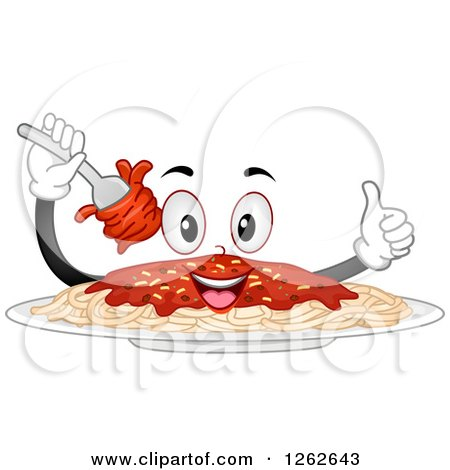 Clipart of a Happy Plate of Spaghetti Giving a Thumb up - Royalty Free Vector Illustration by BNP Design Studio