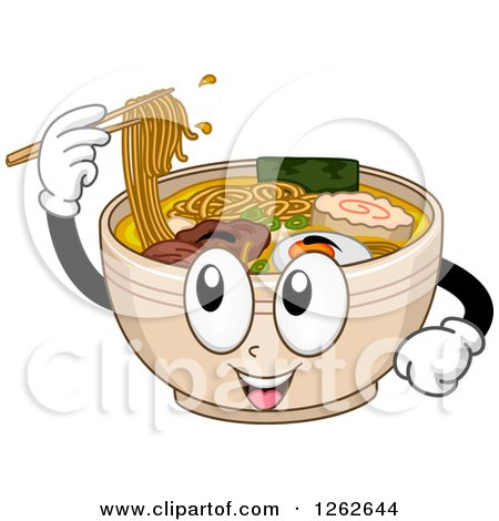 Clipart of a Bowl of Ramen Noodles Character Using Chopsticks - Royalty Free Vector Illustration by BNP Design Studio