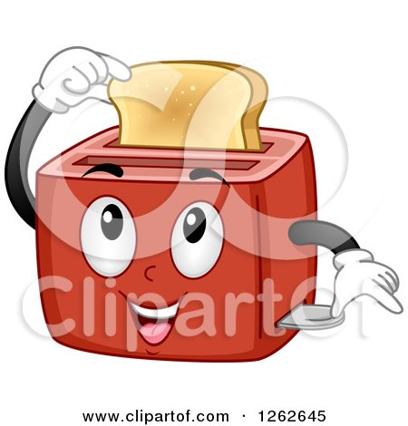 Clipart of a Toaster Character Holding a Slice of Bread - Royalty Free Vector Illustration by BNP Design Studio