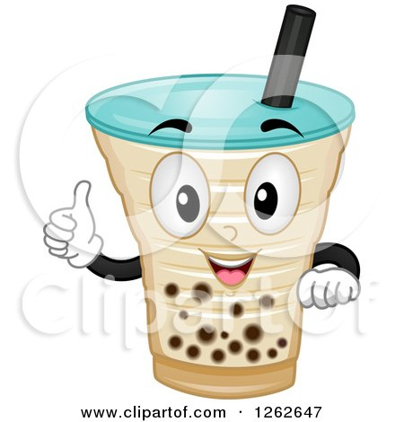 Clipart of a Milk Tea Character Holding a Thumb up - Royalty Free Vector Illustration by BNP Design Studio