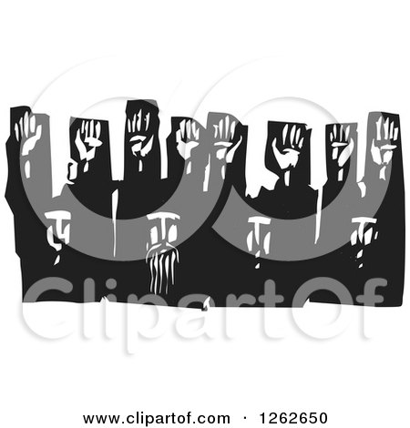 Black and White Woodcut Group of Men Surrendering with Their Hands up Posters, Art Prints