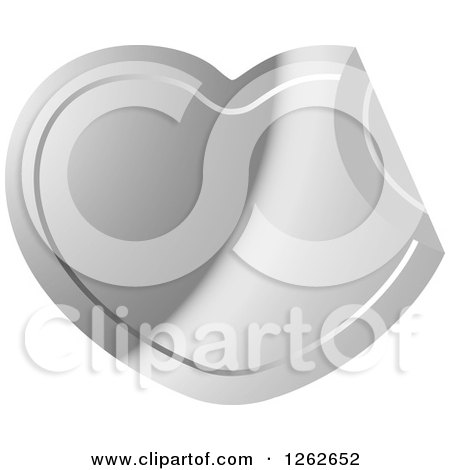 Clipart of a Peeling Silver Heart Tag Label - Royalty Free Vector Illustration by Lal Perera