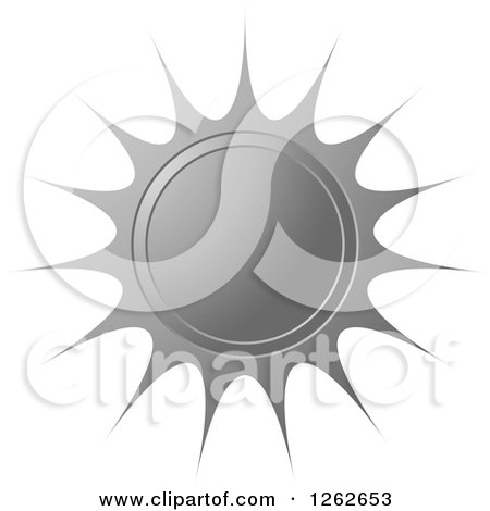Clipart of a Sunburst Silver Seal Tag Label - Royalty Free Vector Illustration by Lal Perera