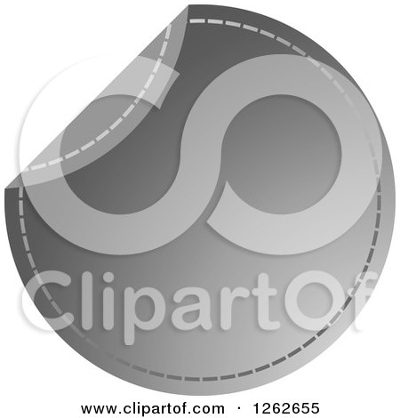 Clipart of a Peeling Silver Round Sewn Tag Label - Royalty Free Vector Illustration by Lal Perera