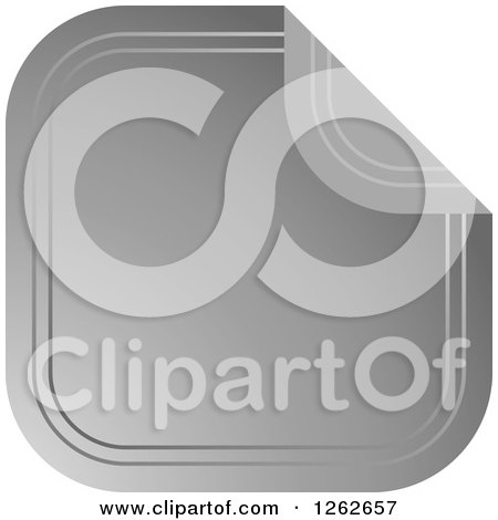 Clipart of a Peeling Silver Square Tag Label - Royalty Free Vector Illustration by Lal Perera