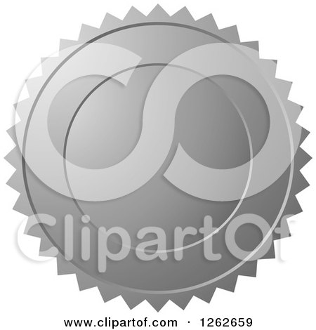 Clipart of a Silver Burst Tag Label Seal - Royalty Free Vector Illustration by Lal Perera