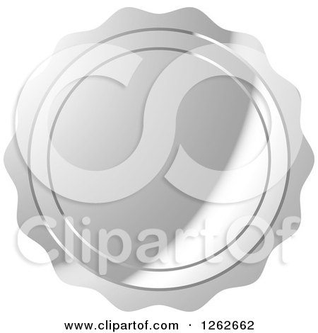 Clipart of a Silver Wax Seal Tag Label - Royalty Free Vector Illustration by Lal Perera