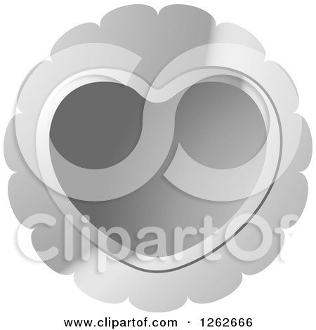 Clipart of a Silver Heart Tag Label - Royalty Free Vector Illustration by Lal Perera