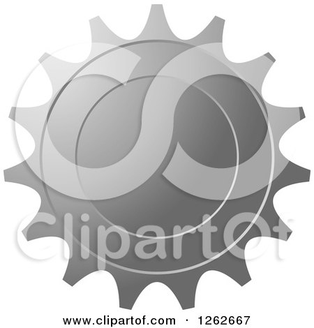 Clipart of a Gear like Silver Tag Label - Royalty Free Vector Illustration by Lal Perera