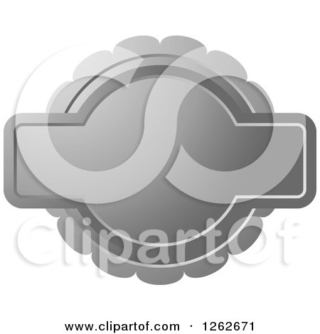 Clipart of a Doily like Silver Tag Label with Text Space - Royalty Free Vector Illustration by Lal Perera