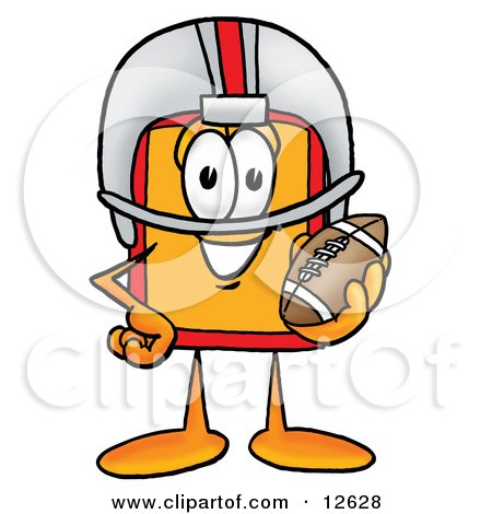 Clipart Picture of a Price Tag Mascot Cartoon Character in a Helmet, Holding a Football by Toons4Biz