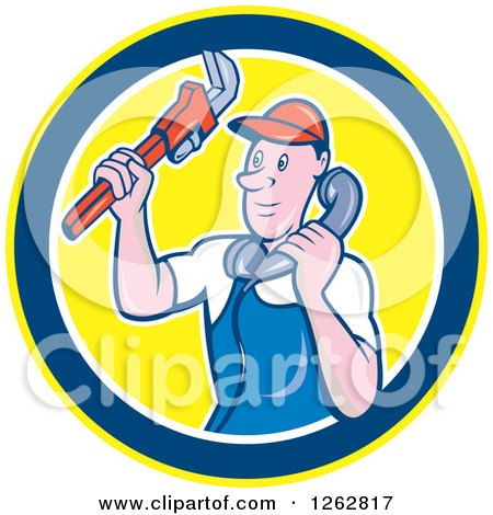 Clipart of a Retro Cartoon Male Plumber Holding a Monkey Wrench and Taking a Call in a Circle - Royalty Free Vector Illustration by patrimonio
