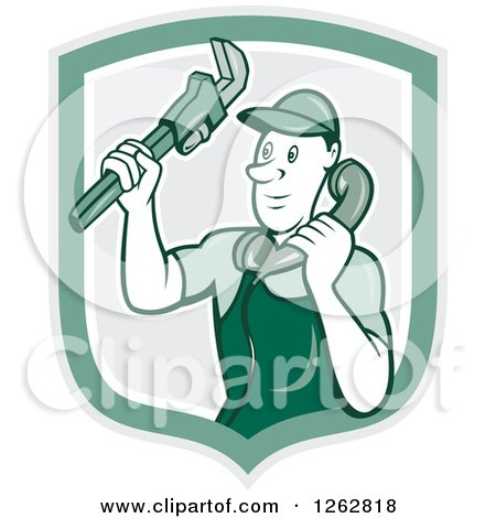 Clipart of a Retro Cartoon Male Plumber Holding a Monkey Wrench and Taking a Call in a Green Shield - Royalty Free Vector Illustration by patrimonio
