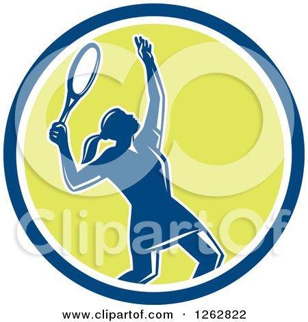 Clipart of a Retro Silhouetted Female Tennis Player Serving Inside a Blue White and Green Circle - Royalty Free Vector Illustration by patrimonio