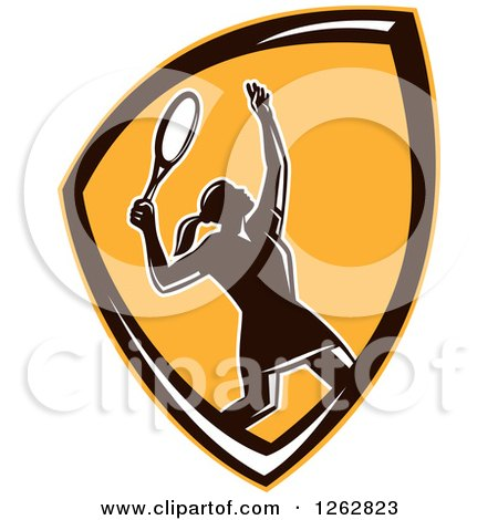 Clipart of a Retro Silhouetted Female Tennis Player Serving Inside an Orange Black and White Shield - Royalty Free Vector Illustration by patrimonio