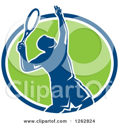 Clipart of a Retro Silhouetted Male Tennis Player Serving Inside a Blue White and Green Circle - Royalty Free Vector Illustration by patrimonio