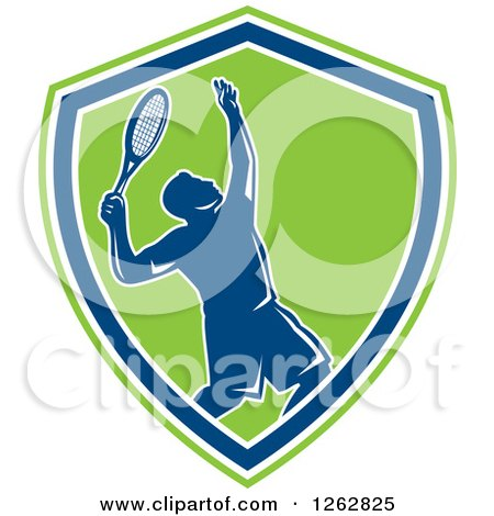Clipart of a Retro Silhouetted Male Tennis Player Serving Inside a Blue White and Green Shield - Royalty Free Vector Illustration by patrimonio