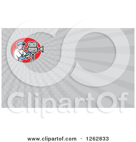 Clipart of a Cartoon Filming Cameraman and Rays Business Card Design - Royalty Free Vector Illustration by patrimonio