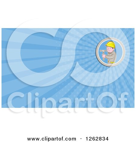 Cartoon Carpenter Holding a Hammer and Rays Business Card Design Posters, Art Prints