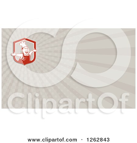 Clipart of a Happy Chef and Rays Business Card Design - Royalty Free Vector Illustration by patrimonio