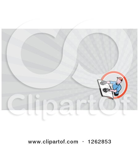 Clipart of a Glass Installer and Rays Business Card Design - Royalty Free Vector Illustration by patrimonio