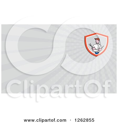 Clipart of a Cartoon Barber with Scissors and a Comb and Rays Business Card Design - Royalty Free Vector Illustration by patrimonio