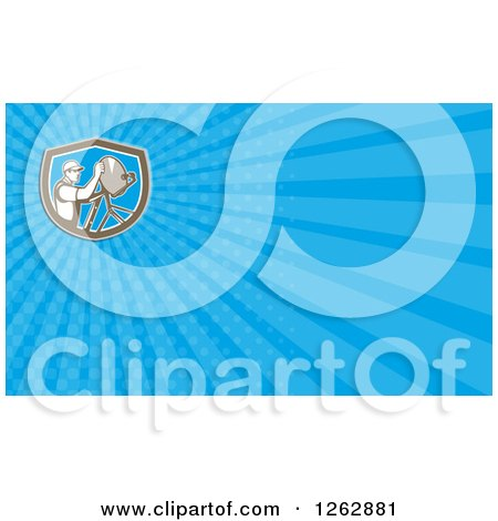 Clipart of a Retro Satellite Dish Installer Background or Business Card Design - Royalty Free Illustration by patrimonio