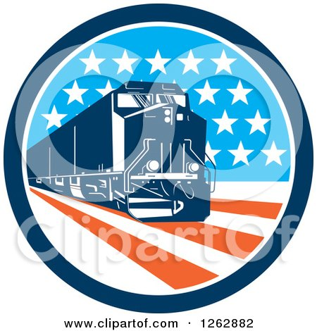 Clipart of a Retro Diesel Train in an American Circle - Royalty Free Vector Illustration by patrimonio