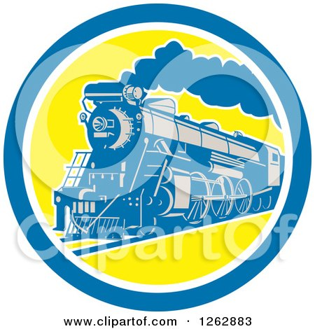 Clipart of a Retro Steam Train in a Blue White and Yellow Circle - Royalty Free Vector Illustration by patrimonio