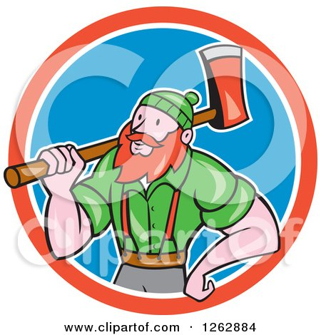 Clipart of a Cartoon Logger, Paul Bunyan, with an Axe in a Red White and Blue Circle - Royalty Free Vector Illustration by patrimonio