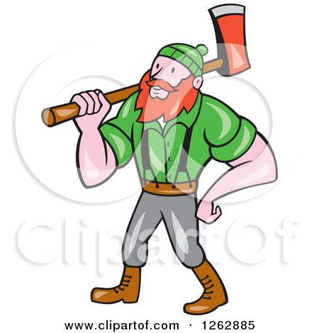 Clipart of a Cartoon Logger, Paul Bunyan, with an Axe - Royalty Free Vector Illustration by patrimonio