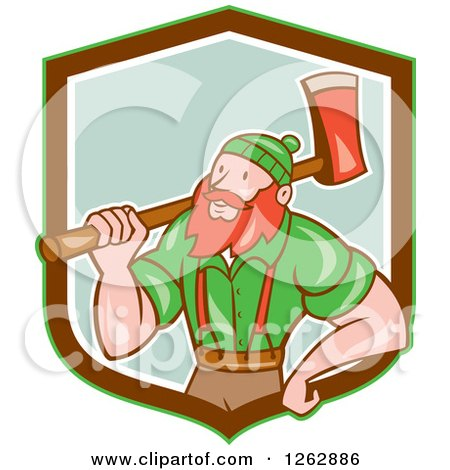 Clipart of a Cartoon Logger, Paul Bunyan, with an Axe in a Green Brown and White Shield - Royalty Free Vector Illustration by patrimonio