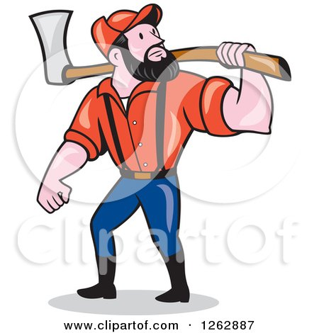 Clipart of a Cartoon Male Paul Bunyan Lumberjack Carrying an Axe - Royalty Free Vector Illustration by patrimonio