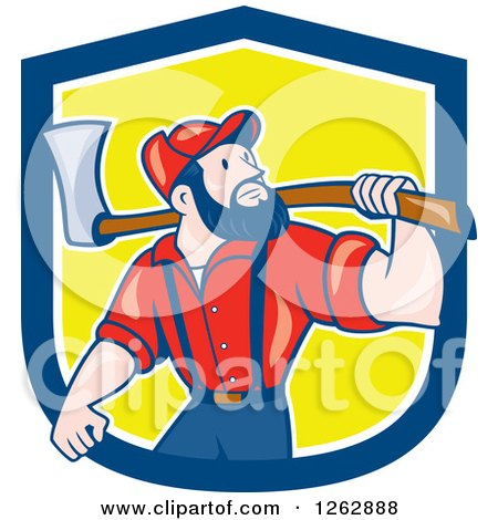 Clipart of a Cartoon Male Paul Bunyan Lumberjack Carrying an Axe in a Blue White and Yellow Shield - Royalty Free Vector Illustration by patrimonio