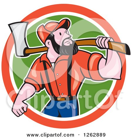 Clipart of a Cartoon Male Paul Bunyan Lumberjack Carrying an Axe in a Red White and Green Circle - Royalty Free Vector Illustration by patrimonio