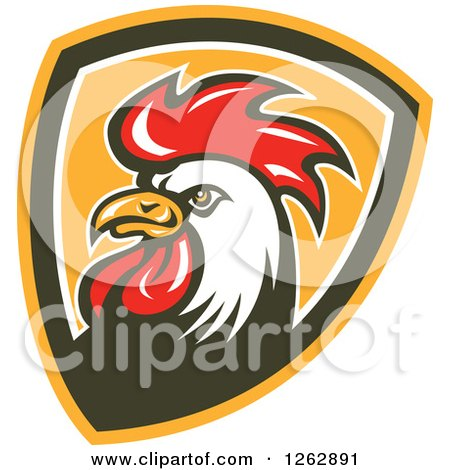 Clipart of a Retro Cartoon Rooster in a Shield - Royalty Free Vector Illustration by patrimonio