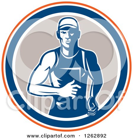 Clipart of a Retro Male Runner in an Orange White Blue and Taupe Circle - Royalty Free Vector Illustration by patrimonio