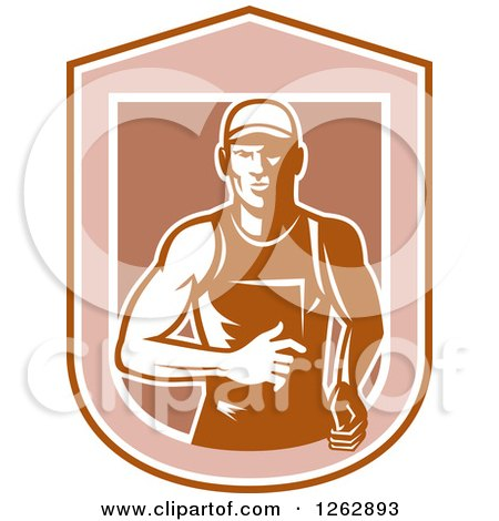Clipart of a Retro Male Runner in a Shield - Royalty Free Vector Illustration by patrimonio