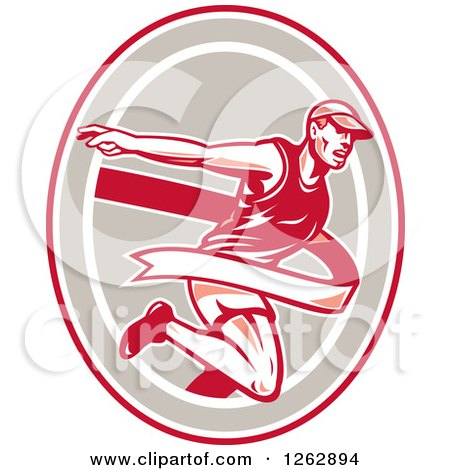 Clipart of a Retro Male Runner Breaking Through a Finish Line in a Red Taupe and White Oval - Royalty Free Vector Illustration by patrimonio