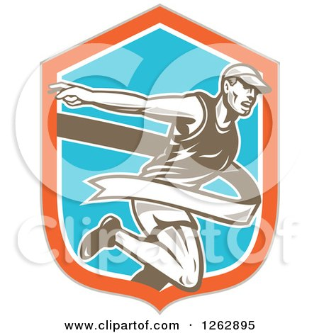 Clipart of a Retro Male Runner Breaking Through a Finish Line in a Taupe Orange White and Blue Shield - Royalty Free Vector Illustration by patrimonio
