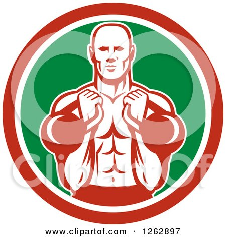 Clipart of a Retro Male Bodybuilder Working out with Kettlebells in a Red White and Green Circle - Royalty Free Vector Illustration by patrimonio