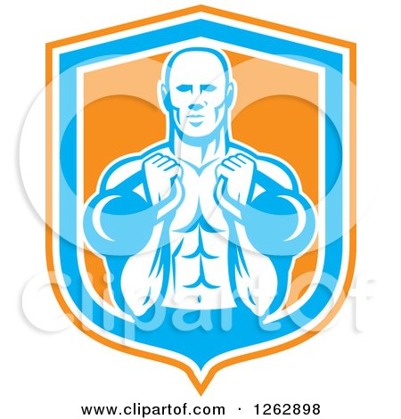 Clipart of a Retro Male Bodybuilder Working out with Kettlebells in an Orange White and Blue Shield - Royalty Free Vector Illustration by patrimonio
