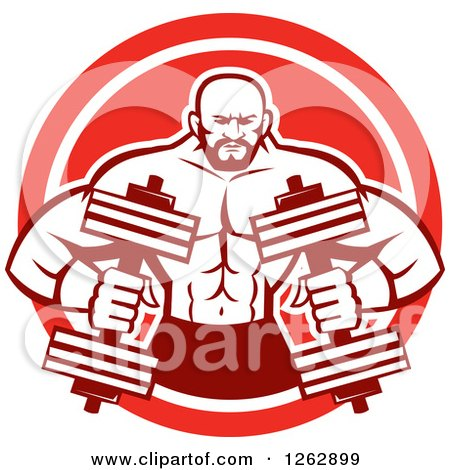 Clipart of a Retro Muscular Male Bodybuilder with Dumbbells in a Red and White Circle - Royalty Free Vector Illustration by patrimonio